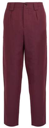 Etro Cropped Linen And Wool Blend Trousers - Mens - Purple