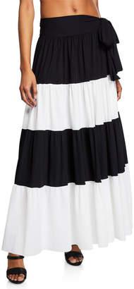 Chiara Boni Vittoria Side-Tie Colorblock Maxi Skirt