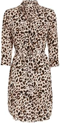 L'Agence Stella Leopard Silk Shirt Dress