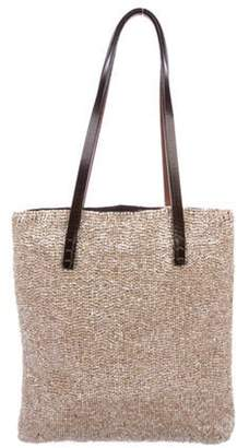 Fendi Leather-Trimmed Bead Tote Beige Leather-Trimmed Bead Tote