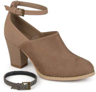 Journee Collection Womens Royal Booties Stacked Heel Buckle