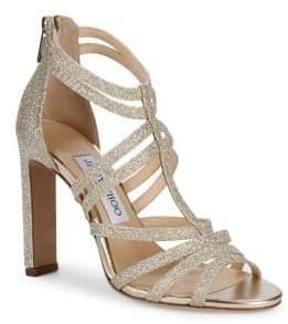 Jimmy Choo Selina Glittered Strappy Sandals