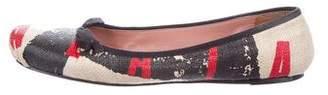 Alaia Printed Raffia Flats
