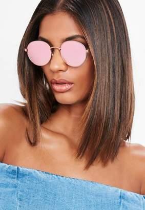Missguided Purple Reflective Circle Sunglasses