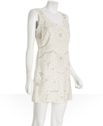 Vivienne Tam white floral embroidered linen sheath dress