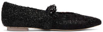Simone Rocha Black and Red Embellished Strap Ballerina Flats