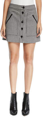 Veronica Beard Monroe Houndstooth Button-Front Mini Skirt