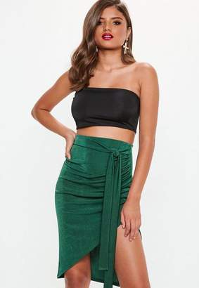 Missguided Green Slinky Asymmetric Midi Skirt