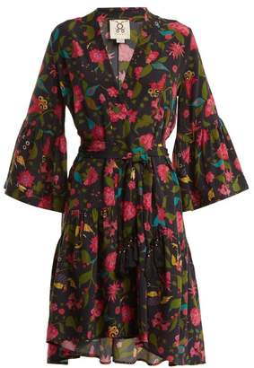 Figue Caroline Floral Print Silk Wrap Dress - Womens - Black Multi