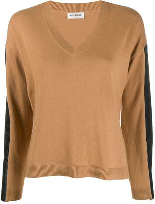 Twin-Set faux leather-panelled jumper