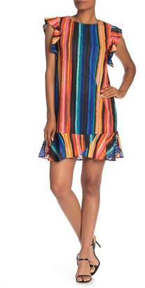 ECI Colorblock Stripe Flutter Sleeve Dress