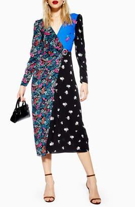 Topshop Grand Estate Mix Midi Dress