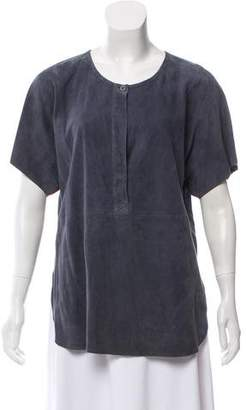 Vince Leather Short Sleeve Top w/ Tags