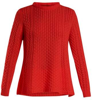 Alpina Queene And Belle Cable Knit Cashmere Sweater - Womens - Red