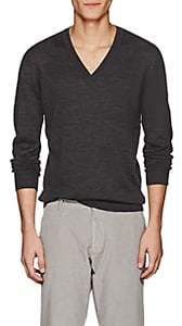 Tomas Maier MEN'S FINE WOOL V-NECK SWEATER-CHARCOAL SIZE M