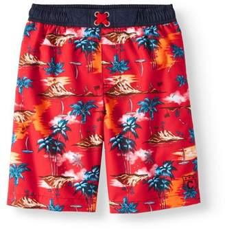 Cherokee Boys' Palm Printed Swim Trunks