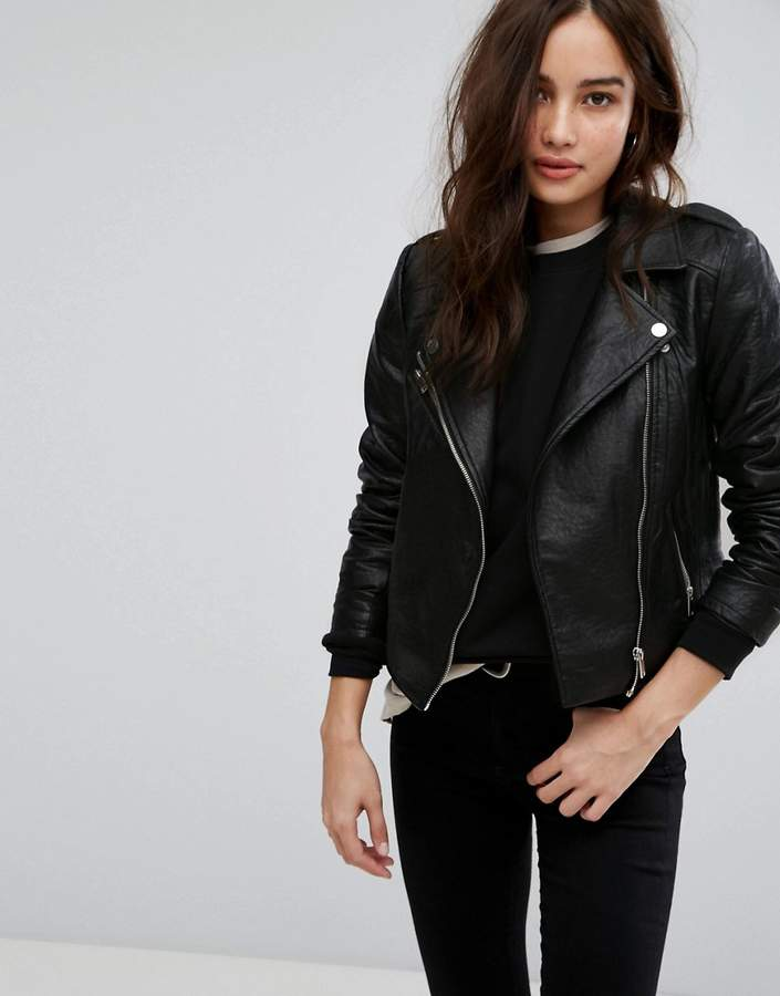 Only Embroidered Leather Look Biker Jacket