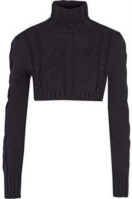 Pierre Balmain Cropped Cable-Knit Merino Wool Turtleneck Sweater