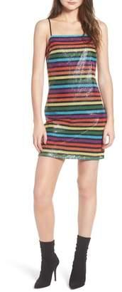 WAYF Lille Rainbow Stripe Sequin Minidress