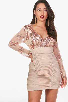 boohoo Sequin Top Ruched Skirt Bodycon Dress