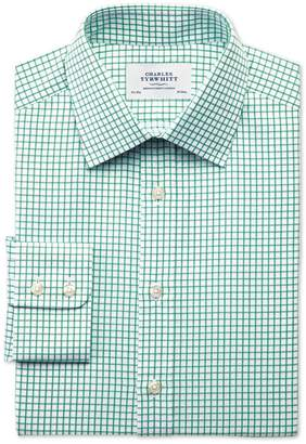Charles Tyrwhitt Extra Slim Fit Twill Grid Check Green Cotton Dress Shirt Single Cuff Size 16/33