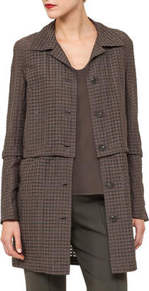 Akris Button-Front Ajoure Silk Cotton Jacket with Detachable Hem