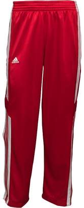 adidas Mens 3 Stripe Warm Up Popper Basketball Track Pants Power Red/White