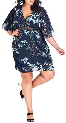 City Chic Navy Blossom Belted Dress