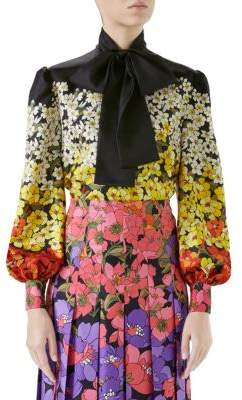 Gucci Silk Twill Floral Tie-Neck Blouse
