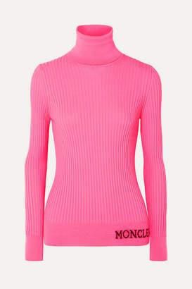 Moncler Intarsia Ribbed Wool Turtleneck Sweater - Pink