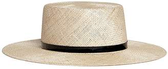 Janessa Leone 'Mason' leather band boater straw hat
