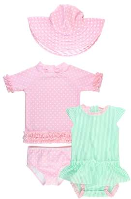 RuffleButts Two-Piece Swimsuit, One-Piece skirted Rash guard & Floppy Hat Set