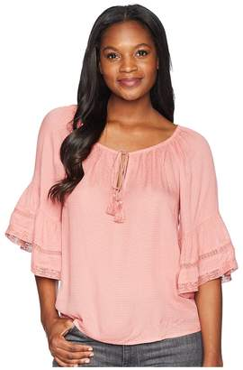 Lucky Brand Bell Sleeve Peasant Top Women's Clothing