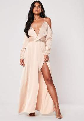 783f9ffcaa74 Missguided Champagne Satin Cold Shoulder Plunge Maxi Dress, Champagne