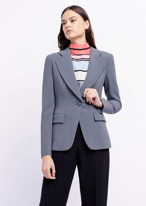 Emporio Armani Single-Breasted Blazer In Cady With Classic Lapels