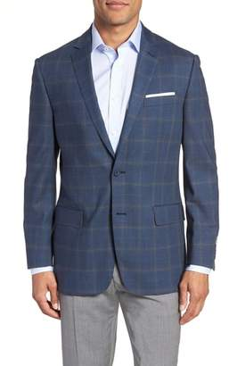 Hart Schaffner Marx Jetsetter Classic Fit Plaid Stretch Wool Sport Coat