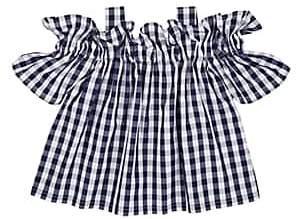Il Gufo Kids' Gingham Cotton Off-The-Shoulder Blouse-Navy