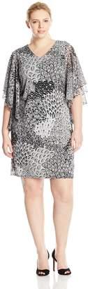 MSK Women's Plus-Size Flutter Sleeve Woven Printed Dress, Black/White