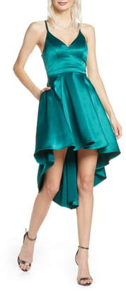 Sequin Hearts High/Low Satin Party Dress