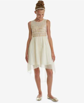 Rare Editions Big Girls Boucle Illusion Neck Dress