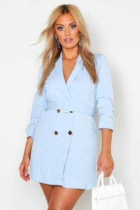 boohoo Plus Ruched Sleek Blazer Dress