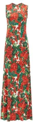 Dolce & Gabbana Geranium Print Jersey Maxi Dress - Womens - Red Multi