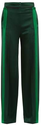 Valentino Cut Out Waist Hammered Satin Trousers - Womens - Green