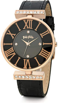 Folli Follie Dynasty Large rose gold-plated stainless steel and leather watch