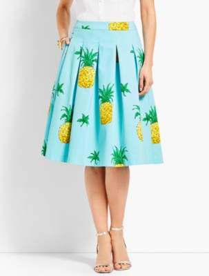 Talbots Pineapple-Print Pleated Full Skirt
