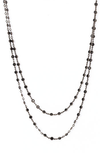 Nordstrom Crystal Collection Extra Long Bezel Necklace
