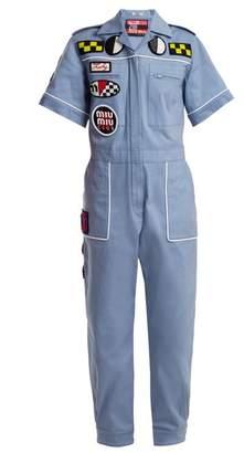 Miu Miu Badge Applique Cotton Blend Jumpsuit - Womens - Light Blue
