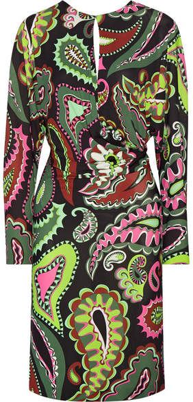 Emilio Pucci - Gathered Printed Jersey Dress - Green
