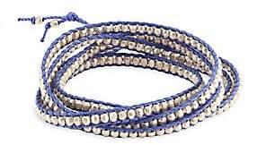 Chan Luu Sterling Silver Bead& Periwinkle Cord Bracelet