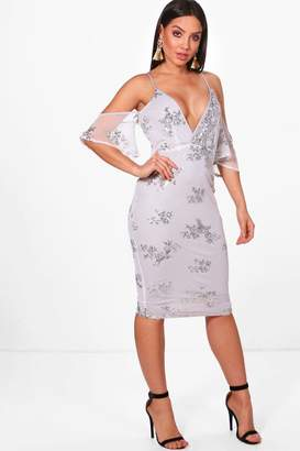 boohoo Boutique Mona Sequin & Mesh Midi Dress